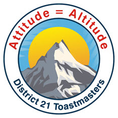 Attitude = Altitude District 21 Toastmasters 2007-08 Logo